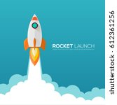 rocket launch ship.vector... | Shutterstock .eps vector #612361256