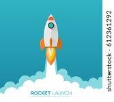 rocket launch  ship. vector... | Shutterstock .eps vector #612361292