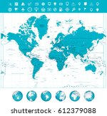 world map and globes with... | Shutterstock .eps vector #612379088