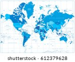 world map in colors of blue... | Shutterstock .eps vector #612379628