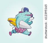 surfer bear  vector background | Shutterstock .eps vector #612395165