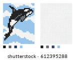pixel killer whale cartoon in... | Shutterstock .eps vector #612395288