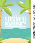 poster with the beach and a... | Shutterstock .eps vector #612428432