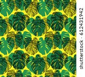 seamless pattern with leaves of ... | Shutterstock .eps vector #612431942