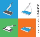 paper cutter icon set  ... | Shutterstock .eps vector #612443036