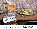 restaurant  food  white wine | Shutterstock . vector #612449165