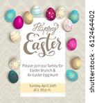 announcement easter eggs | Shutterstock .eps vector #612464402