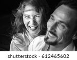 middle aged woman   laughs with ... | Shutterstock . vector #612465602