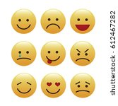 set of emoticons  icon pack ... | Shutterstock .eps vector #612467282