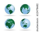 world globes set vector...   Shutterstock .eps vector #612478682