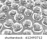 white rose many objects  3d... | Shutterstock . vector #612493712