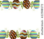 eggs easter with branches plant ... | Shutterstock .eps vector #612508172