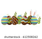 eggs easter with branches plant ... | Shutterstock .eps vector #612508262