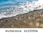 Sand Beach And Sea Foam Macro...