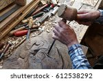 wood carving. carver with... | Shutterstock . vector #612538292