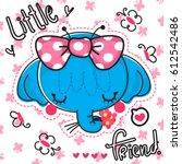 cute elephant girl face cartoon ... | Shutterstock .eps vector #612542486