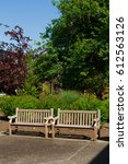 two park benches made for... | Shutterstock . vector #612563126