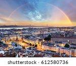 lisbon with rainbow   lisboa... | Shutterstock . vector #612580736