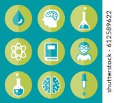 icon science set flat book... | Shutterstock .eps vector #612589622