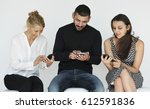 friendship using mobile phone... | Shutterstock . vector #612591836