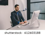young attractive business man... | Shutterstock . vector #612603188