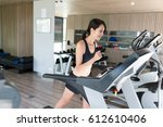 sport woman training on... | Shutterstock . vector #612610406