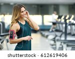 young woman using smartphone... | Shutterstock . vector #612619406
