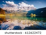 famous lake eibsee the best... | Shutterstock . vector #612622472