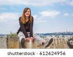 handsome girl posing on the... | Shutterstock . vector #612624956