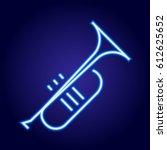 trumpet neon blue glowing of... | Shutterstock .eps vector #612625652
