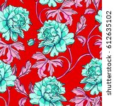 red bright floral background... | Shutterstock .eps vector #612635102