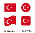set 4 flags of turkey | Shutterstock .eps vector #612636776