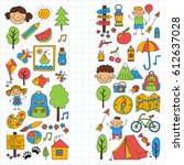 summer camp children  kids...   Shutterstock .eps vector #612637028