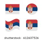 set 4 flags of serbia | Shutterstock .eps vector #612637526
