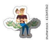 romantic couple sitting flower... | Shutterstock .eps vector #612645362