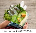 mountain in forest  green... | Shutterstock . vector #612653906