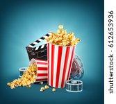 popcorn  cinema reel ... | Shutterstock . vector #612653936