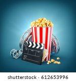 popcorn  cinema reel ... | Shutterstock . vector #612653996