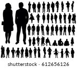 Collection of people silhouettes | Shutterstock vector #612656126