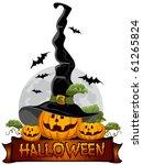 halloween pumpkin in the black...   Shutterstock .eps vector #61265824