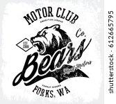 vintage american furious bear... | Shutterstock .eps vector #612665795