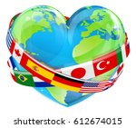 An Earth World Globe In A Heart ...