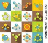 molecule icons set. flat... | Shutterstock .eps vector #612681422
