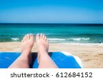 seashore  sun  white sand.... | Shutterstock . vector #612684152