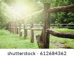 close up  old wooden fence on... | Shutterstock . vector #612684362
