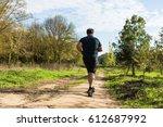 big belly man jogging  ... | Shutterstock . vector #612687992