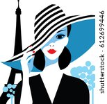 stylish beautiful model for... | Shutterstock .eps vector #612699446