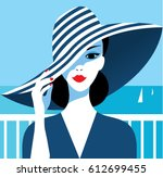 stylish beautiful model for... | Shutterstock .eps vector #612699455