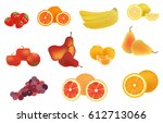 fruits vector set | Shutterstock .eps vector #612713066