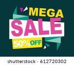 super sale vector banner.  50... | Shutterstock .eps vector #612720302